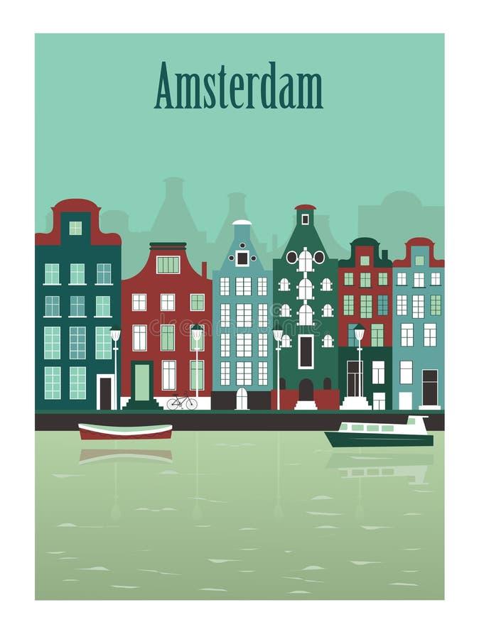 De stad van Amsterdam in Nederland vector illustratie