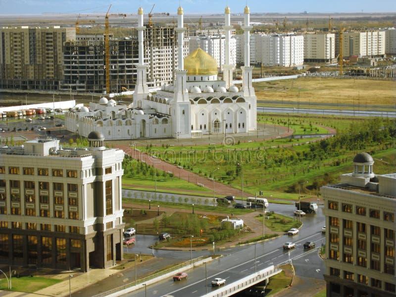 De stad van Astana. Moskee. Panorama stock foto's