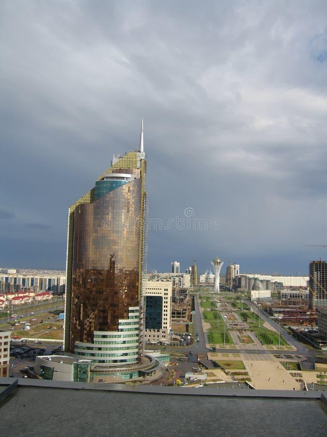 De stad van Astana. Panorama. De toren van Baiterek royalty-vrije stock foto