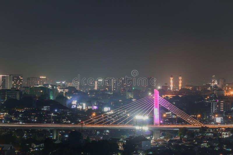 De stad van Bandung van de Pasupatibruid in de nacht royalty-vrije stock foto's