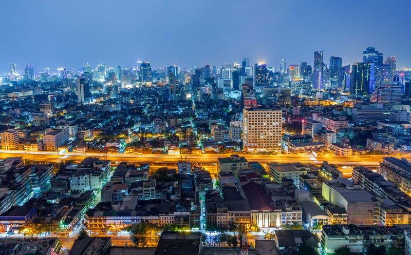 De Stad van Bangkok bij Nacht, Thailand stock afbeeldingen