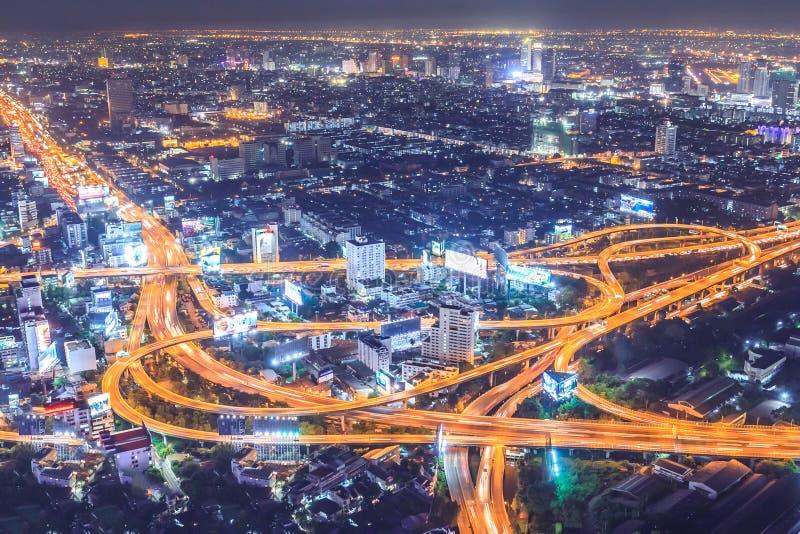 De stad van Bangkok in nightscape Thailand royalty-vrije stock foto's