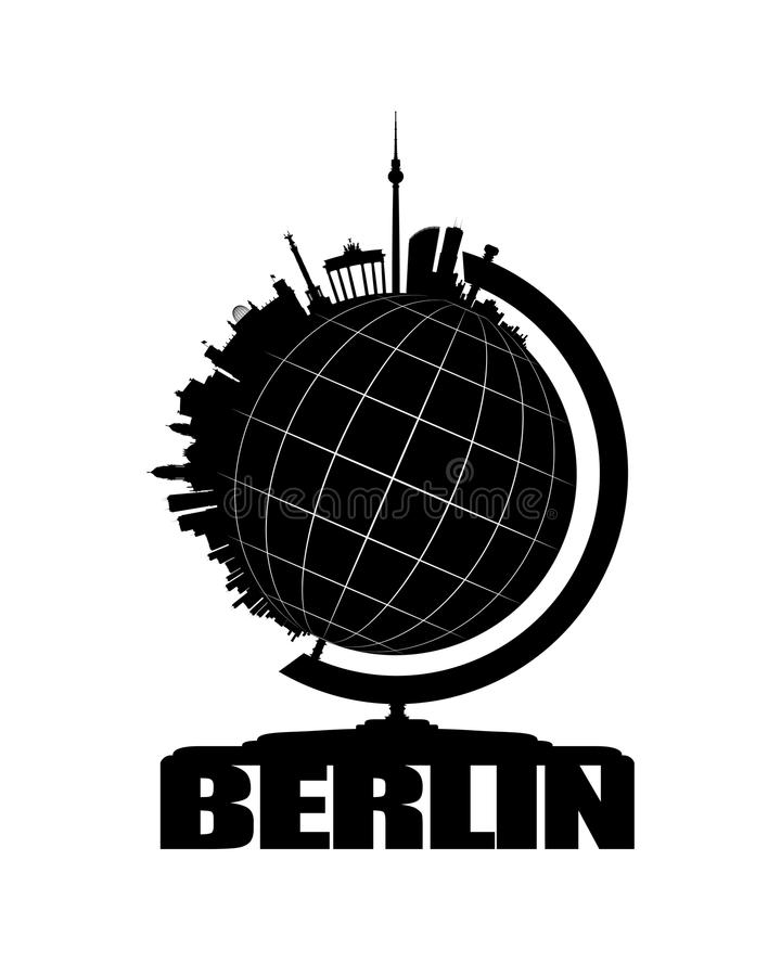 De Stad van Berlijn op een Bol royalty-vrije illustratie