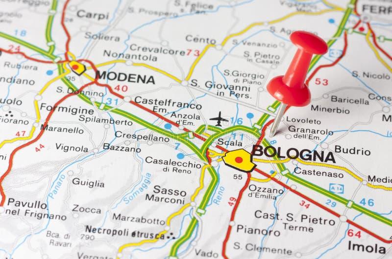 De Stad van Bologna op een Wegenkaart stock foto
