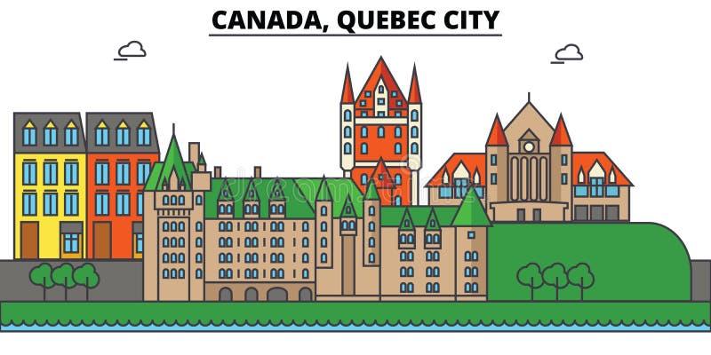 De Stad van Canada, Quebec De architectuur Editable van de stadshorizon vector illustratie
