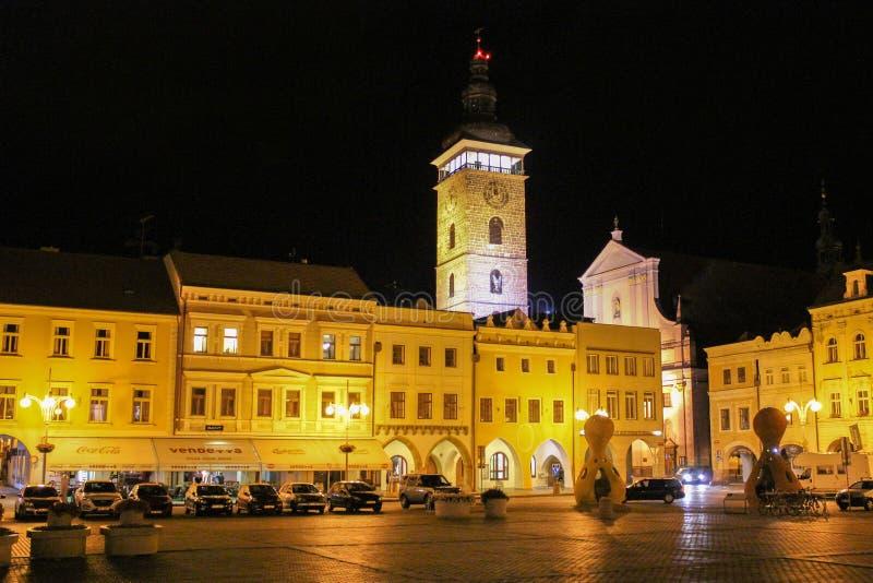 2017-07-01 - De stad van Ceskebudejovice, Tsjechische republiek - Namesti pre royalty-vrije stock afbeeldingen