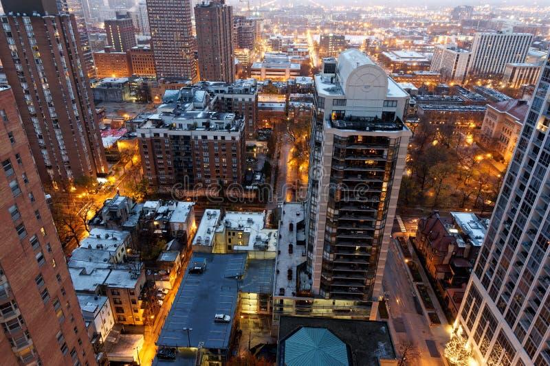 De Stad van Chicago, Arial-Mening bij Nacht, de V.S. royalty-vrije stock afbeeldingen