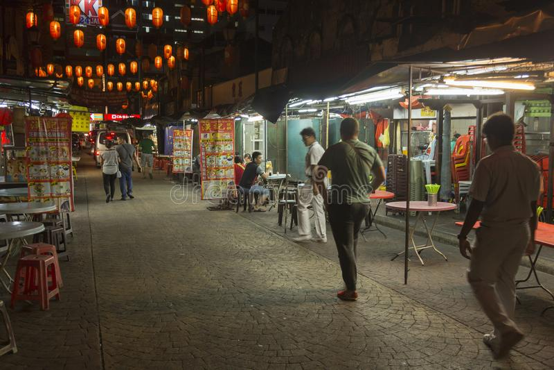 De stad van China in 's nachts Kuala Lumpur stock foto's