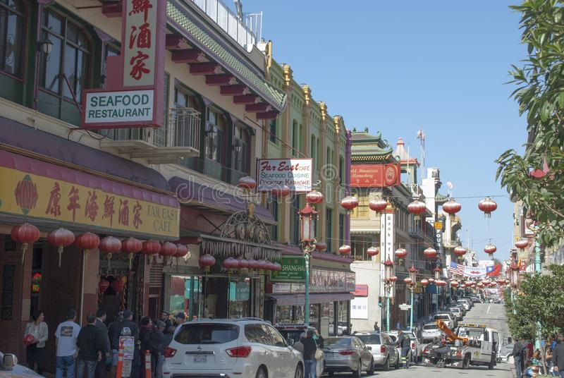 De Stad van China, San Francisco Viering met Chinese flitslichten stock afbeelding