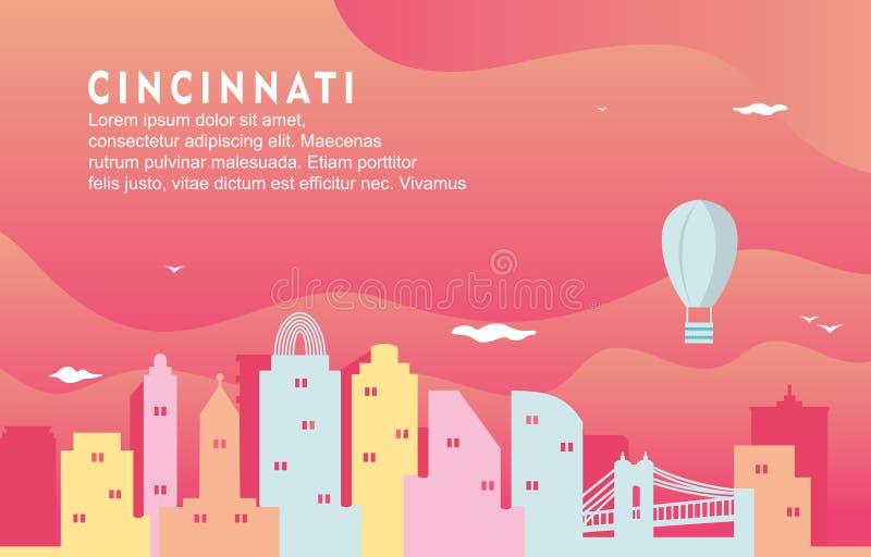De Stad van Cincinnati Ohio de Bouwcityscape Horizon Dynamische Illustratie Als achtergrond royalty-vrije illustratie