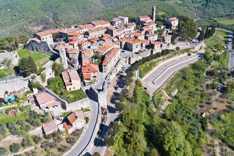 De stad van Civitella in Val di Chiana stock foto