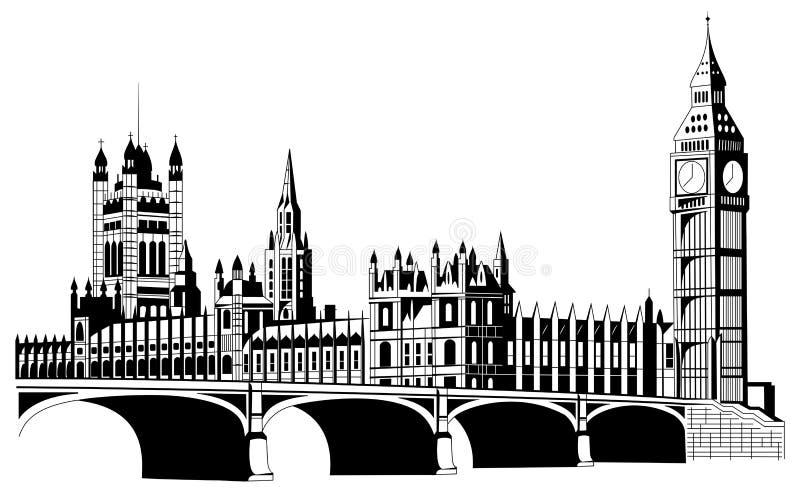 De stad van contourlonden in vector stock illustratie