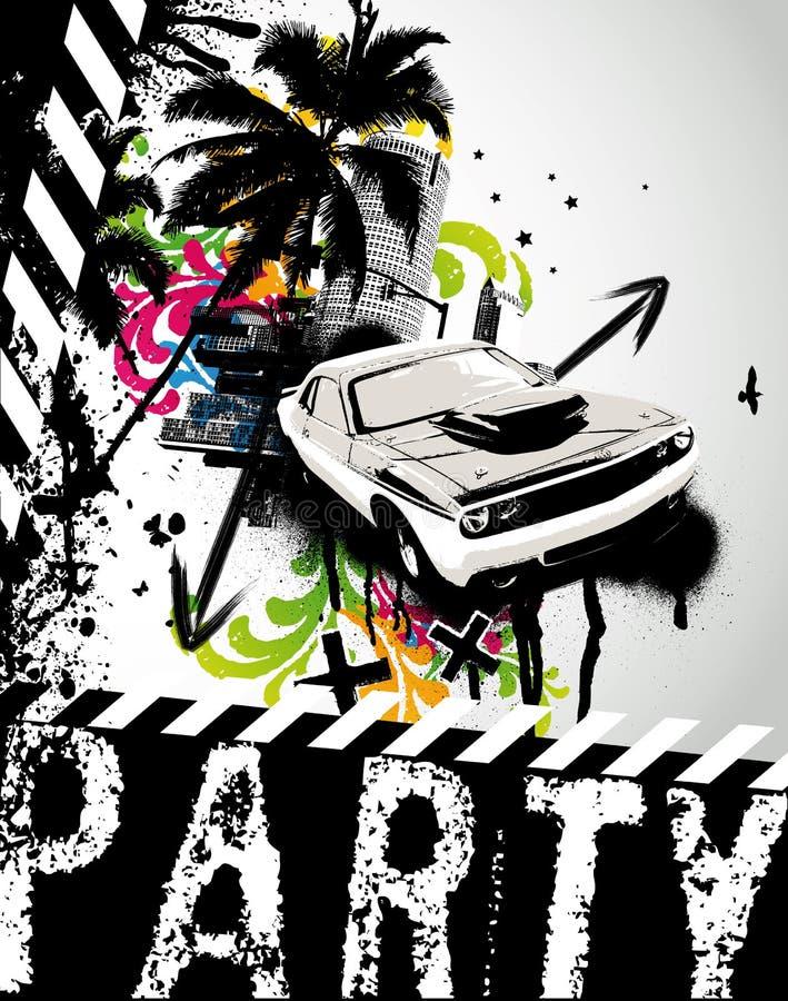 De Stad van de Auto van de Partij van Grunge vector illustratie
