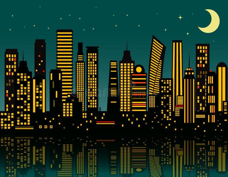 De stad van de beeldverhaalnacht stock illustratie