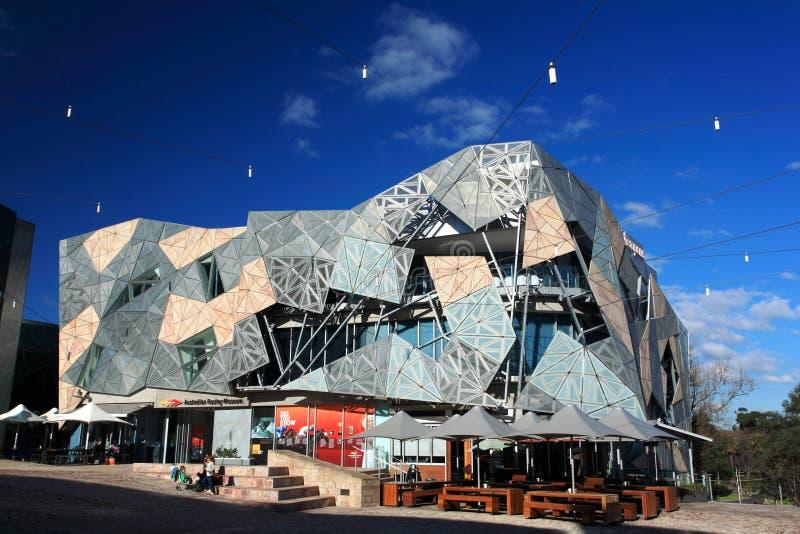 De stad van de federatie Square.Melbourne stock foto's