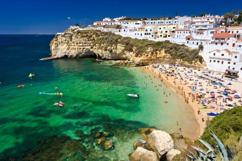 De stad van de kust in Portugal stock afbeeldingen