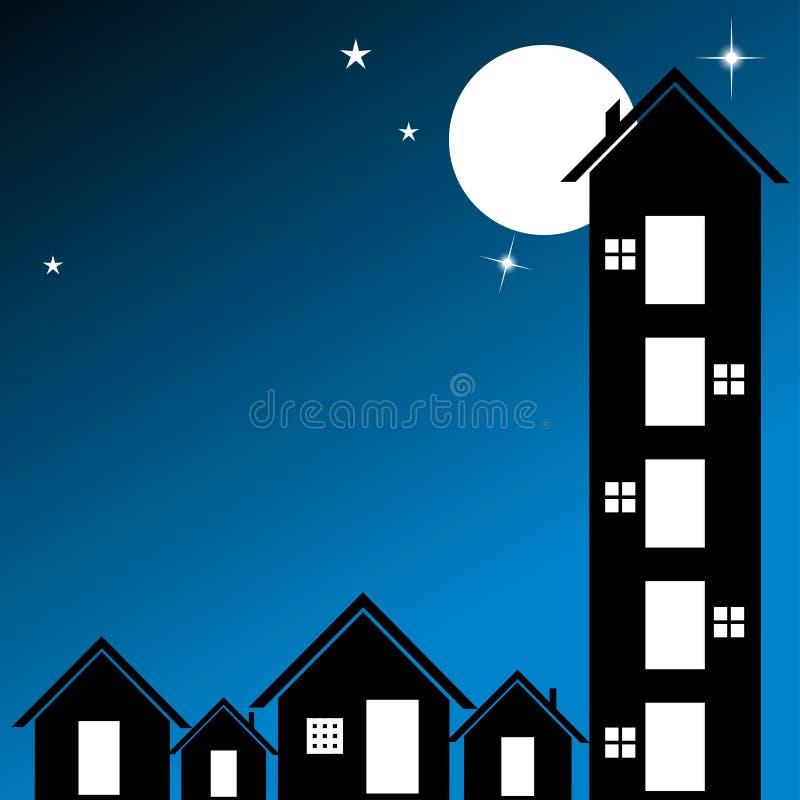 De stad van de nacht stock illustratie