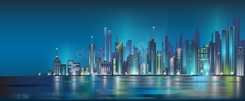 De stad van de nacht royalty-vrije illustratie