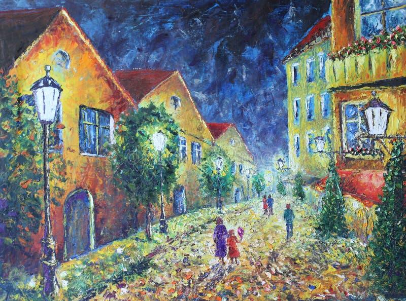 De stad van de nacht Gele oude gebouwen Witte Lichten stock illustratie