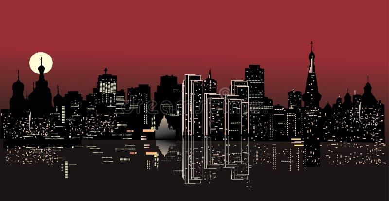 De stad van de nacht met bezinning stock illustratie