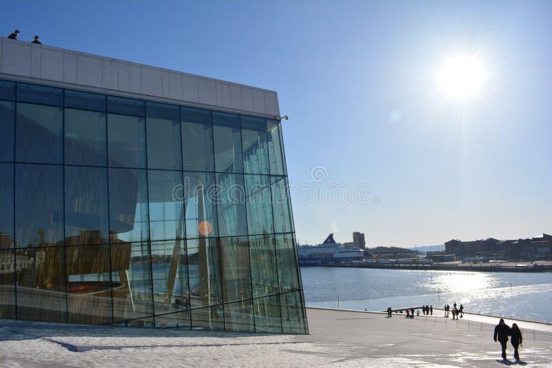 De Stad van de Operahouse_oslo van Oslo stock afbeeldingen