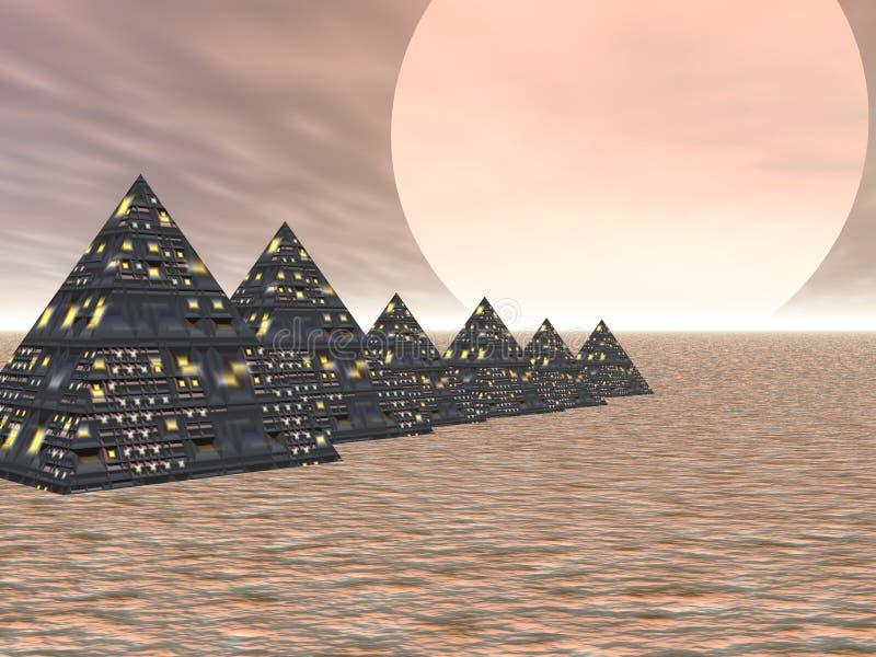 De Stad van de piramide royalty-vrije illustratie