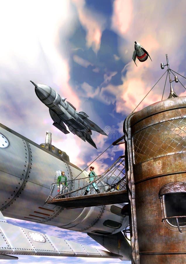 De stad van de raket stock illustratie