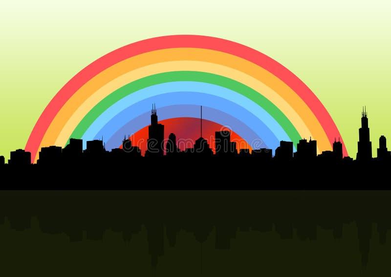 De stad van de regenboog royalty-vrije illustratie