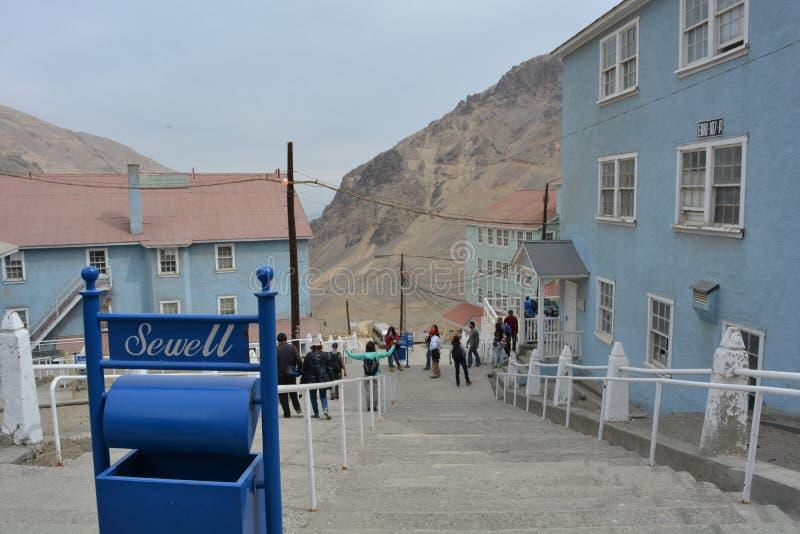 De stad van de spookmijnbouw van Sewell, Chili royalty-vrije stock foto's