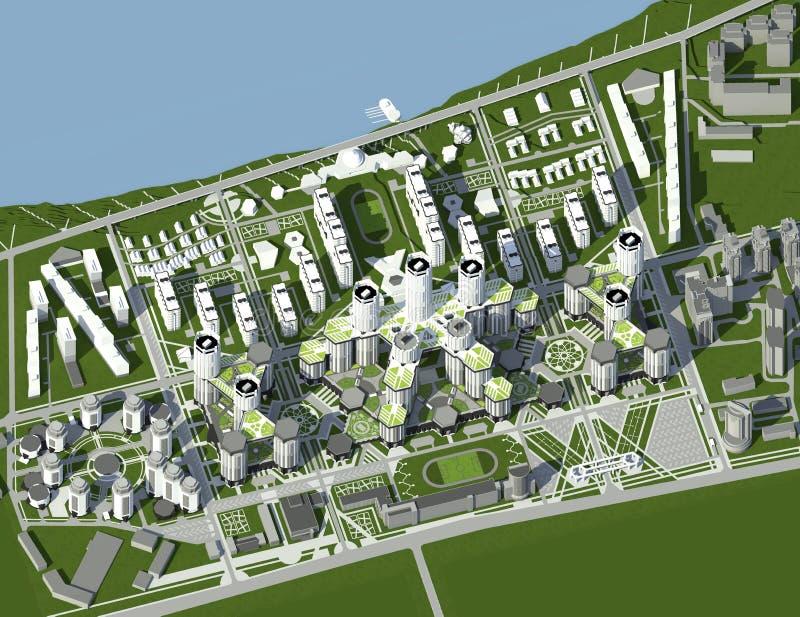 De stad van de toekomst Een model van stedelijke buurten stock fotografie