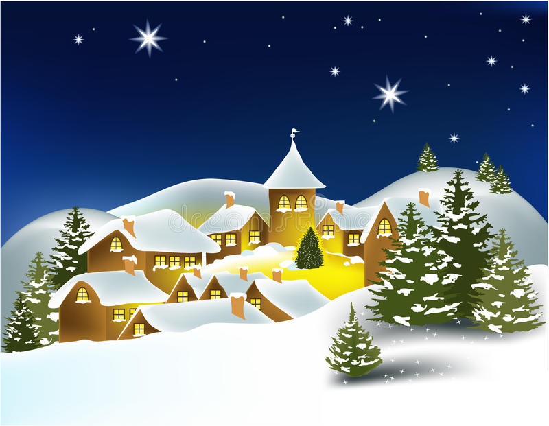De stad van de winter stock illustratie
