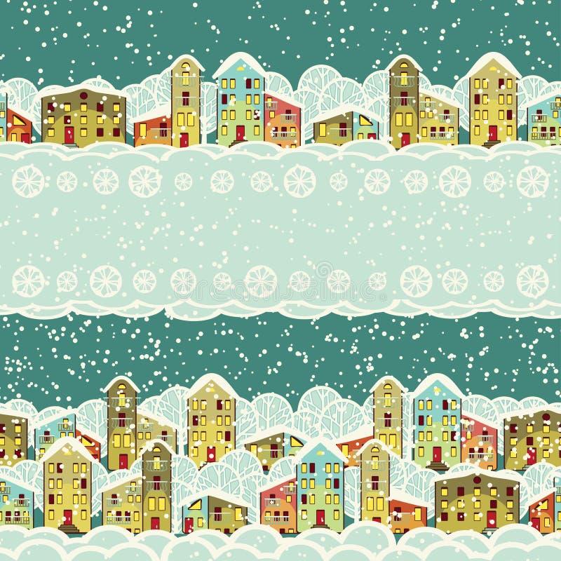 De stad van de winter, naadloze grenzen stock illustratie