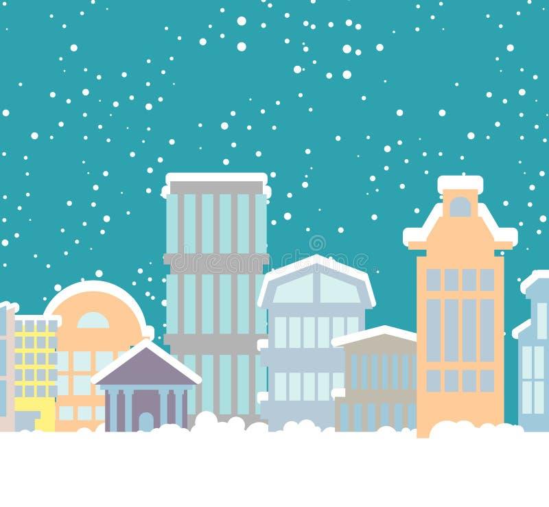 De Stad van de winterkerstmis Gebouwen in sneeuw Sneeuwval in stad nieuw stock illustratie
