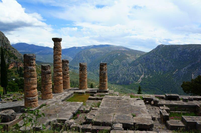 De stad van Delphi in Griekenland stock afbeelding