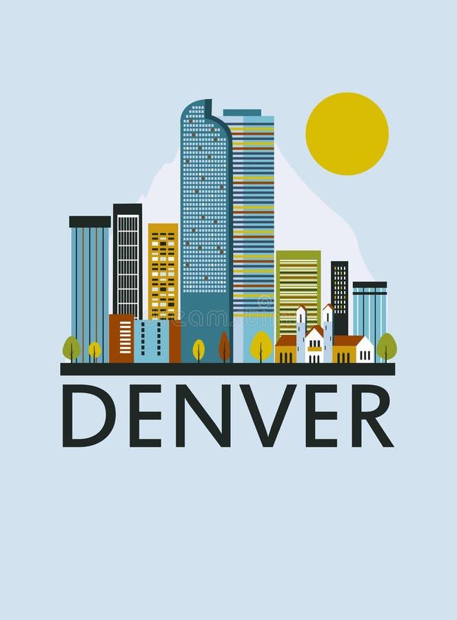 De stad van Denver in Colorado stock illustratie