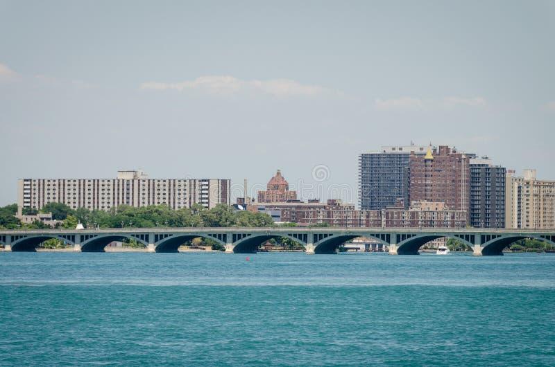 De stad van Detroit, de rivier van Detroit royalty-vrije stock fotografie
