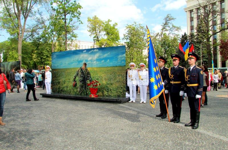 De stad van Dniepr, het Openen van de herdenkings complexe Steeg van geheugen voor helden van ATU en Hemelse honderden, royalty-vrije stock afbeelding