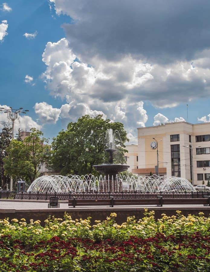De stad van Donetsk - luchtmening. stock fotografie
