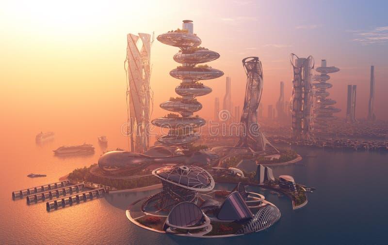 De stad van fantasie vector illustratie