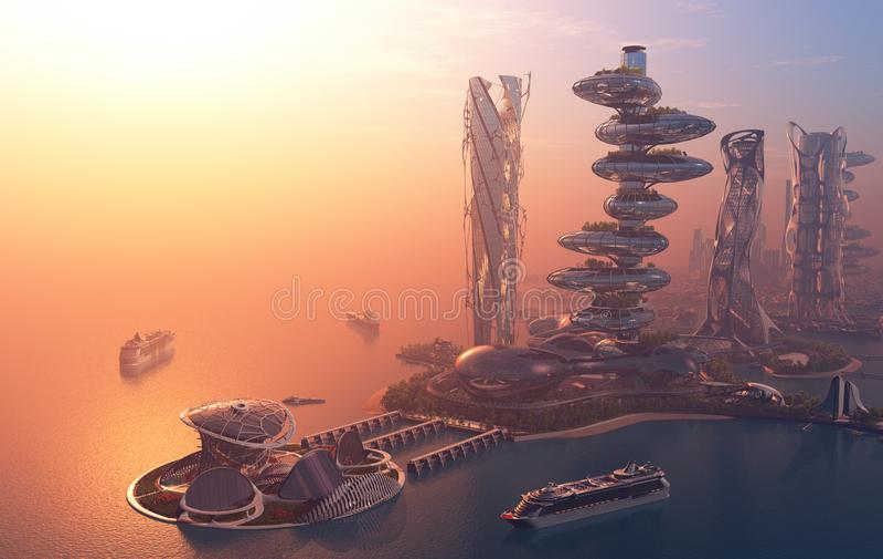 De stad van fantasie royalty-vrije illustratie