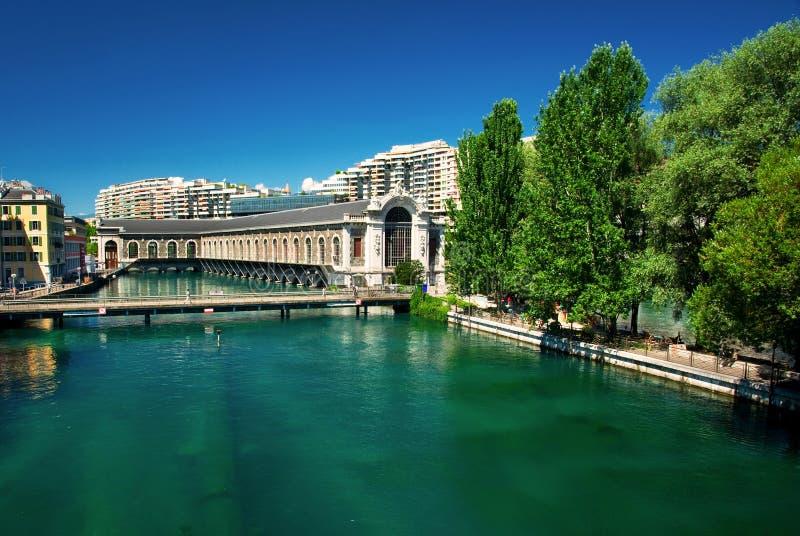 De stad van Genève stock afbeeldingen