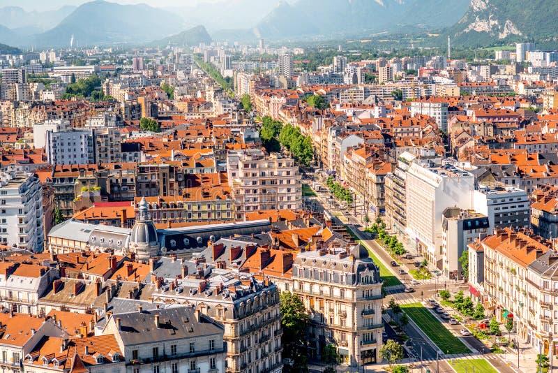 De stad van Grenoble in Frankrijk stock afbeeldingen