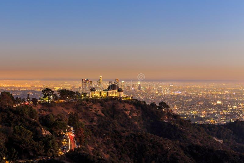 De stad van Griffith Observatory en van Los Angeles royalty-vrije stock fotografie