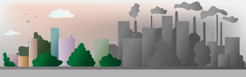 De stad van de grijze en kleurenecologie helpt de wereld met milieuvriendelijke conceptenideeën, Vectorillustratie stock illustratie