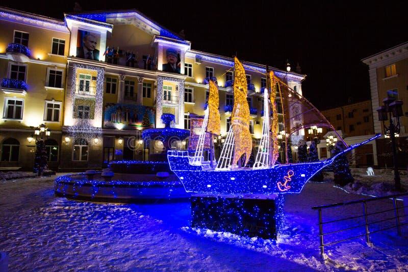 De stad van Grozny bij nacht royalty-vrije stock afbeeldingen