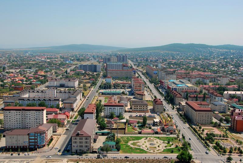 De Stad van Grozny De mening vanaf de bovenkant royalty-vrije stock afbeeldingen
