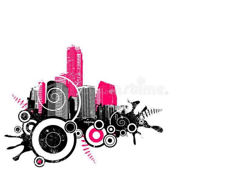 De stad van Grunge in de hoek. Vector vector illustratie