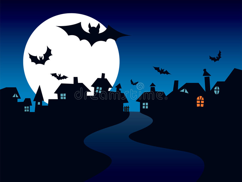 De stad van Halloween vector illustratie