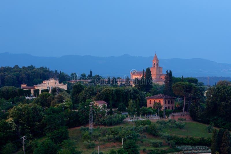 De Stad van het avondlandschap, Siena, Toscanië, Italië stock afbeelding
