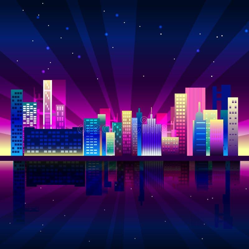 De stad van het nachtneon in synthwavestijl De stedelijke achtergrond van New York met kleurrijke gradiënten vector illustratie